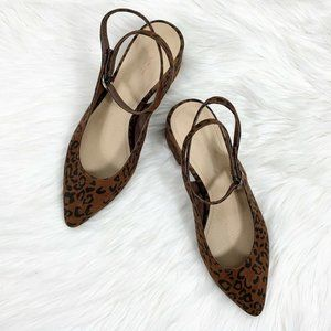 Loft 9 Heels Animal Print Ankle Strap Pointed Toe